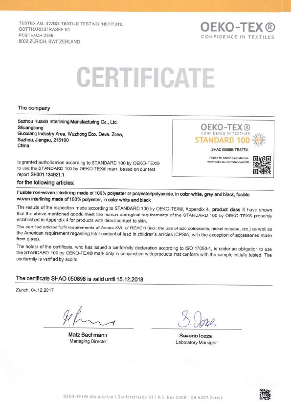 2018 suzhou huaxin z100 shao sertifikası